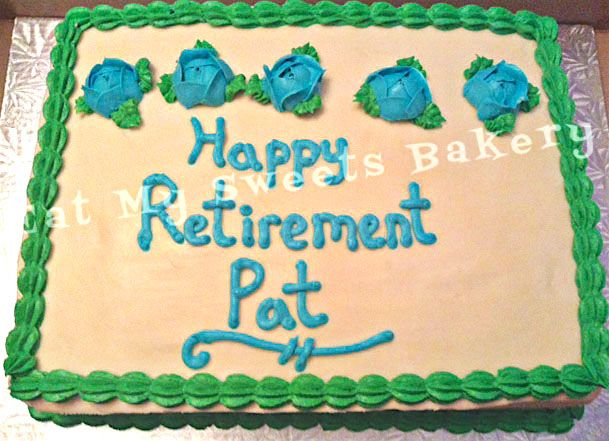 Corporate Celebration- Blue & Green Retirement Cake
