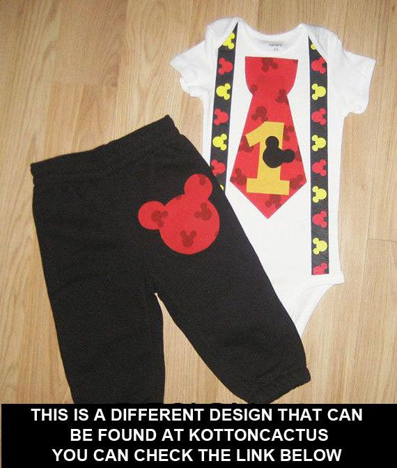 Mickey mouse birthday outfit Mickey bodysuit and by kottoncactus