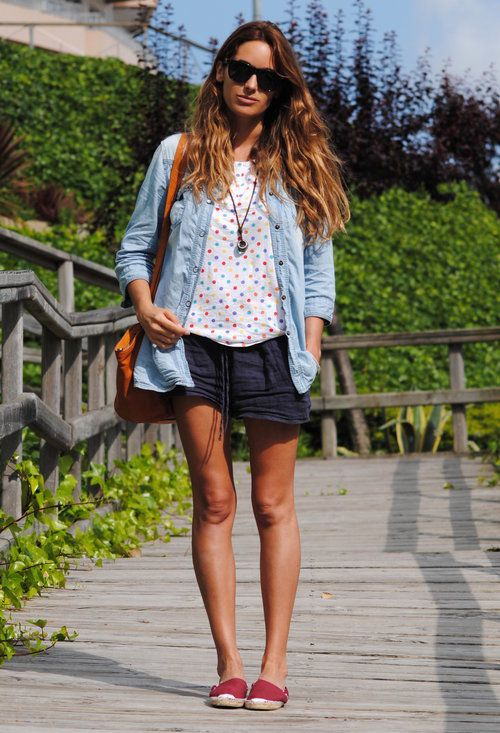 with espadrilles  , Zara in Shirt / Blouses, Vintage  Coffee in T Shirts, Zara in Shorts, Bimba  Lola in Bags