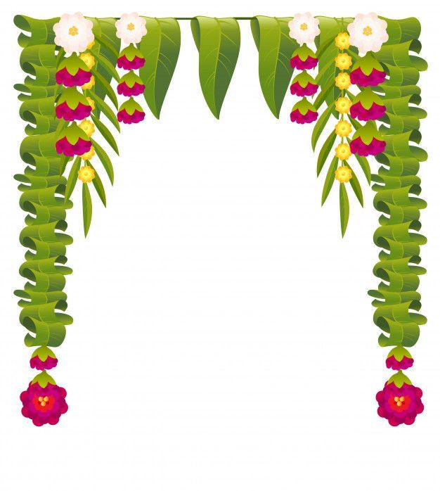 Mala Indian Flower Garland For Ugadi Holiday Floral Mango Leaves Ornate Decoration Floral Cards Design Indian Flowers Wedding Banner Design