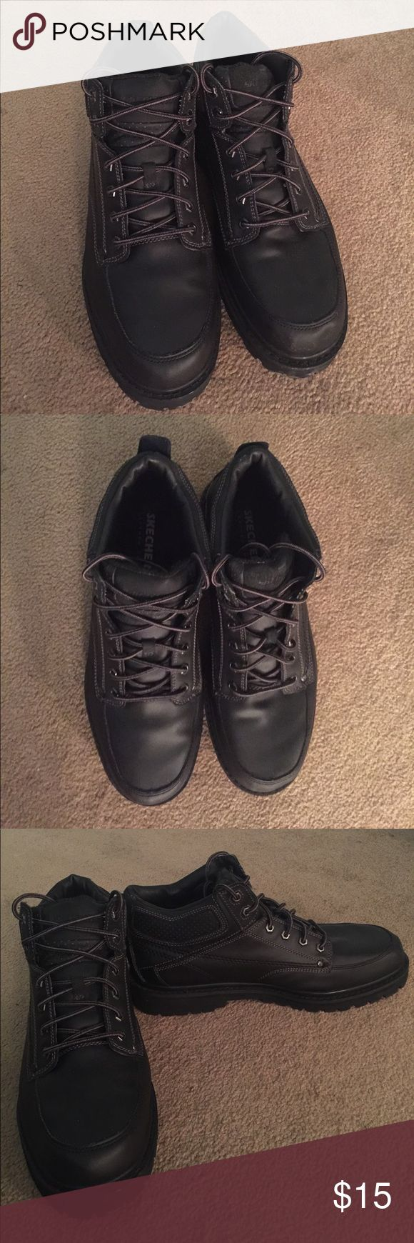 Black Leather Upper SKECHERS Work Booys, size 12 Black Leather Upper SKECHERS Work Booys, size 12.  Great pre-owned condition.  Coming from a pet and smoke free environment. Skechers Shoes Boots
