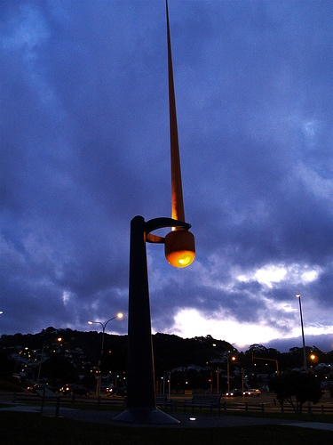 The Zephyrometer is a giant wind sculpture in Wellington. As the famous wellington wind blows, the needle moves to show the strength.