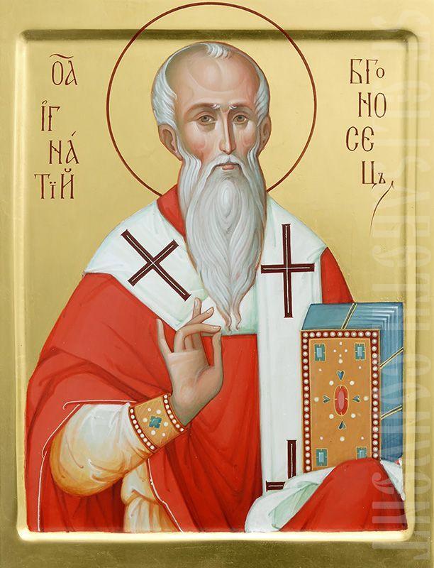 painted icon of st ignatius the god-bearer