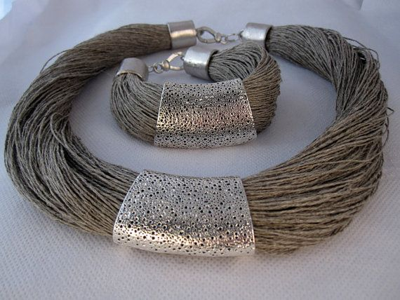Necklace and bracelet linen engraved metal silver by espurna88,