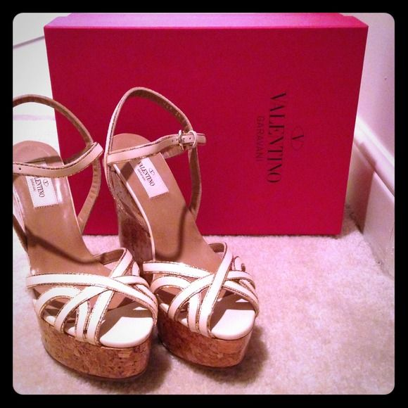 Valentino Wedges Amazing for spring and summer Valentino wedges beige with gold trim. Great condition bought from the store in Paris! Valentino Shoes
