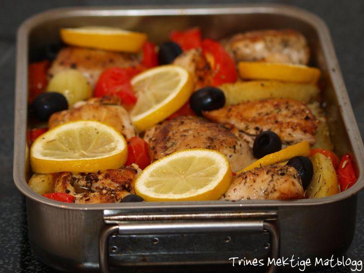 Ovnsbakt kylling med sitron, paprika og oliven