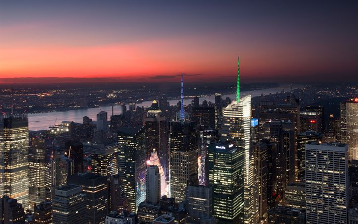 Download wallpapers Manhattan, New York, sunset, cityscapes, skyscrapers, USA, America