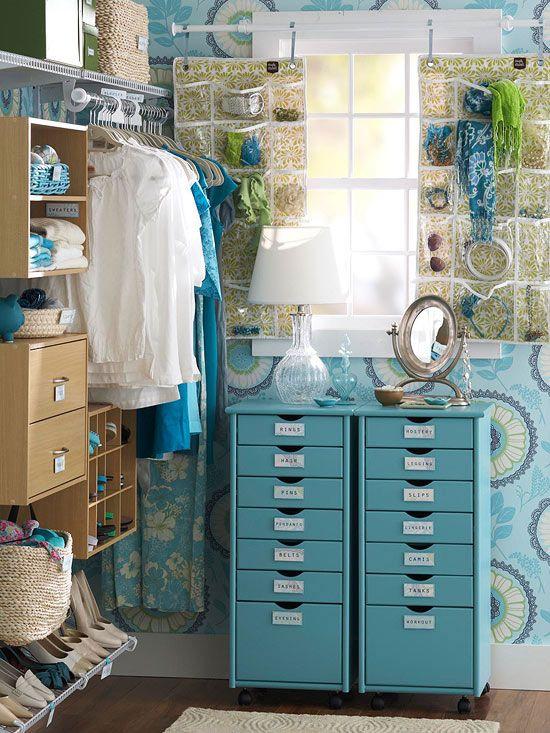 organized closet, amy butler wallpaper