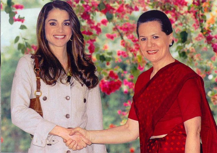 India, March 2006-Queen Rania of Jordon with Sonia Gandhi