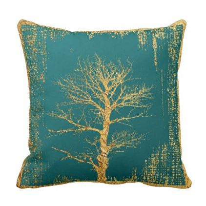 Gold Tree On Teal Throw Pillow   Modern Gifts Cyo Gift Ideas Personalize