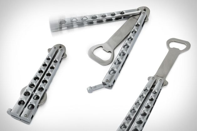BUTTERFLY KNIFE STYLED BOTTLE OPENER