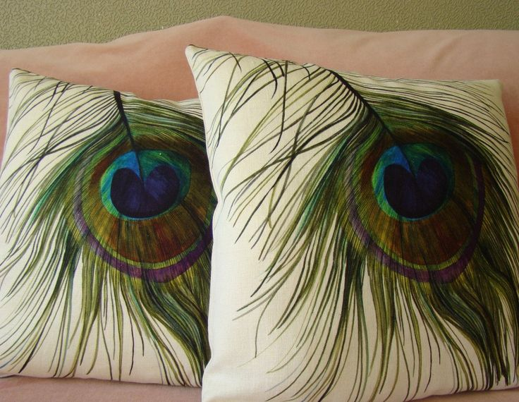 Handmade designer PEACOCK PILLOW COVER 18 x 18. $22.00, via Etsy.