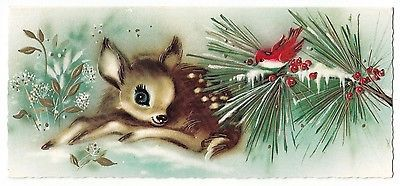Vintage Greeting Card Christmas Cute Deer Fawn Red Bird Mid-Century 1960s