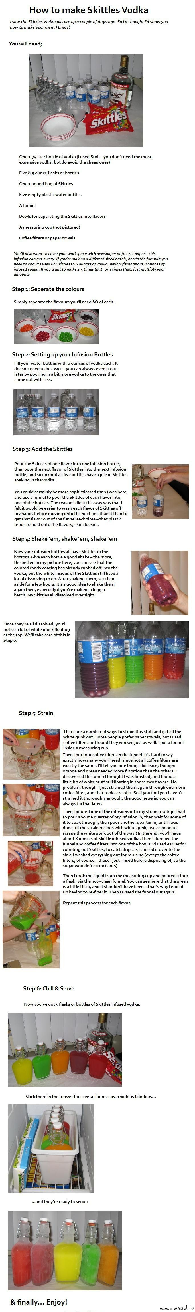Skittles vodka. Tried both the Lemonhead Vodka and Skittles (lemon) Vodka. Not impressed with either. But the Lemonhead flavor is better if you use more Lemonheads than suggested. The lemonhead has a white film on top that has to be strained off. The skittles has a even worse film that will not drain off. looks nasty