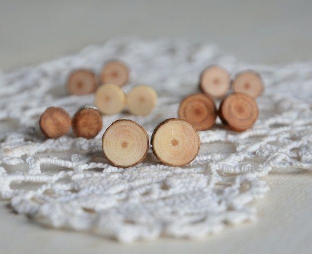 earthy colours Stud Earrings – Natural wooden stud earrings, mens earrings – a unique product by HankaG via en.dawanda.com