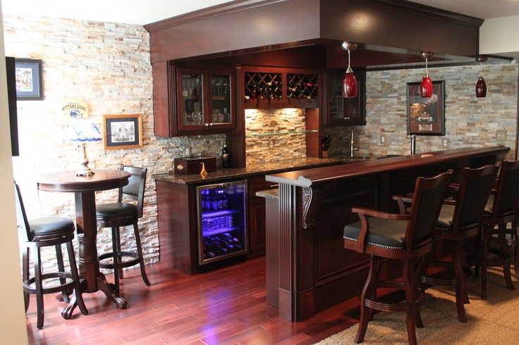 Brambleton bar with kegerator and ledgestone wall custom bar and built in board pinterest bar - Bar built into wall ...