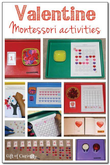 Lots of Valentine Montessori activities spanning the 3-6 curriculum || Gift of Curiosity