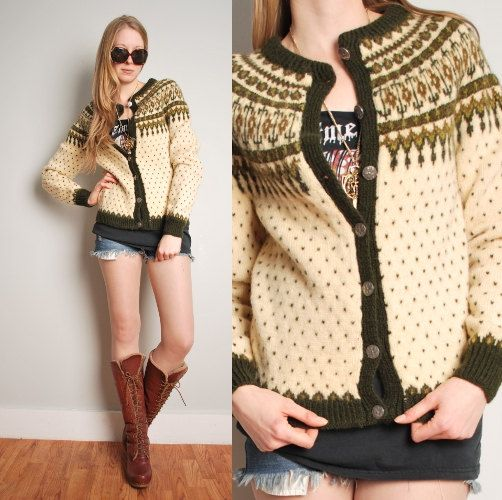 cream olive wool Nordic cardigan sweater by huncamuncavintage
