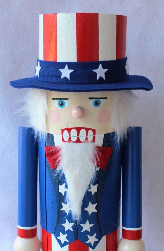 Patriotic Uncle Sam Nutcracker Post by MorethanSquares on Etsy