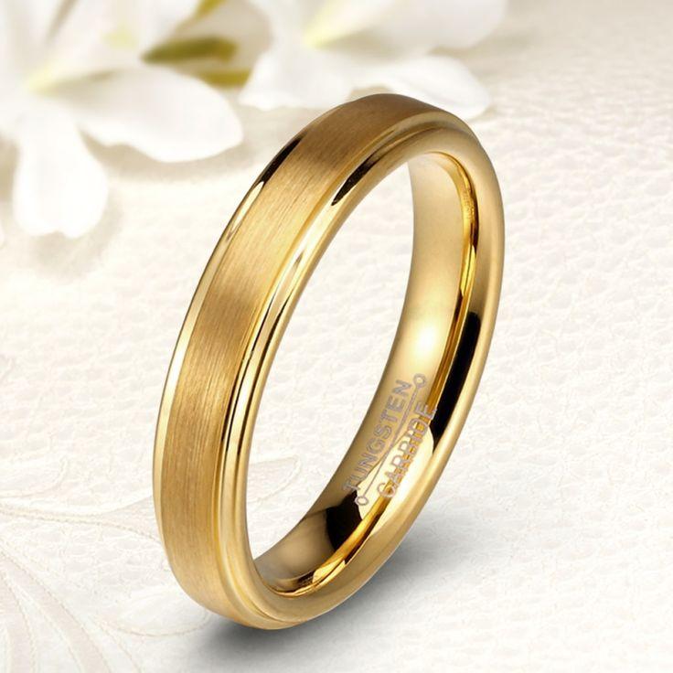 18K arannyal 4 mm széles modern tungsten karikagyűrű