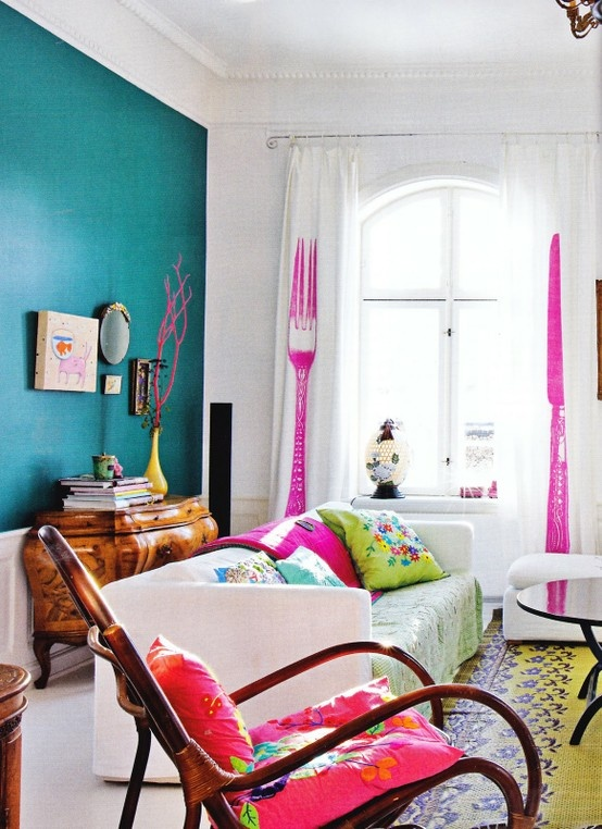 Bright And Colorful Living Room Design With Blue Wall And Spoon And Fork  Curtain
