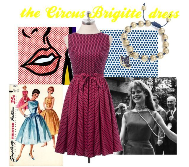 Inspired by the Vivacious Brigitte Bardot. The Circus Brigitte features a fuchsia polka dot print, swishy circle skirt and waist-cinching tie. See it here: http://bit.ly/1AWPewQ  #vintage #dress