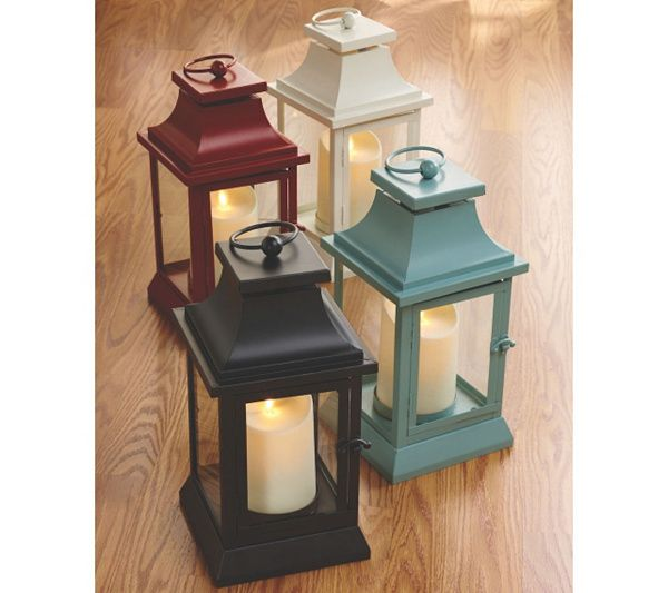 "Luminara 12"" Heritage Indoor Outdoor Lantern with Flameless Candle & Remote in red, ivory, black & slate. QVC.com"