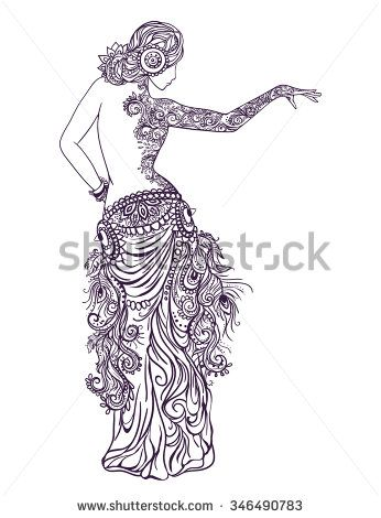 Ornament beautiful card with girl belly dance. Mehenidi element hand drawn. Perfect  cards for any other kind of design, oriental dance, kaleidoscope,  medallion, yoga, india, arabic - stock vector