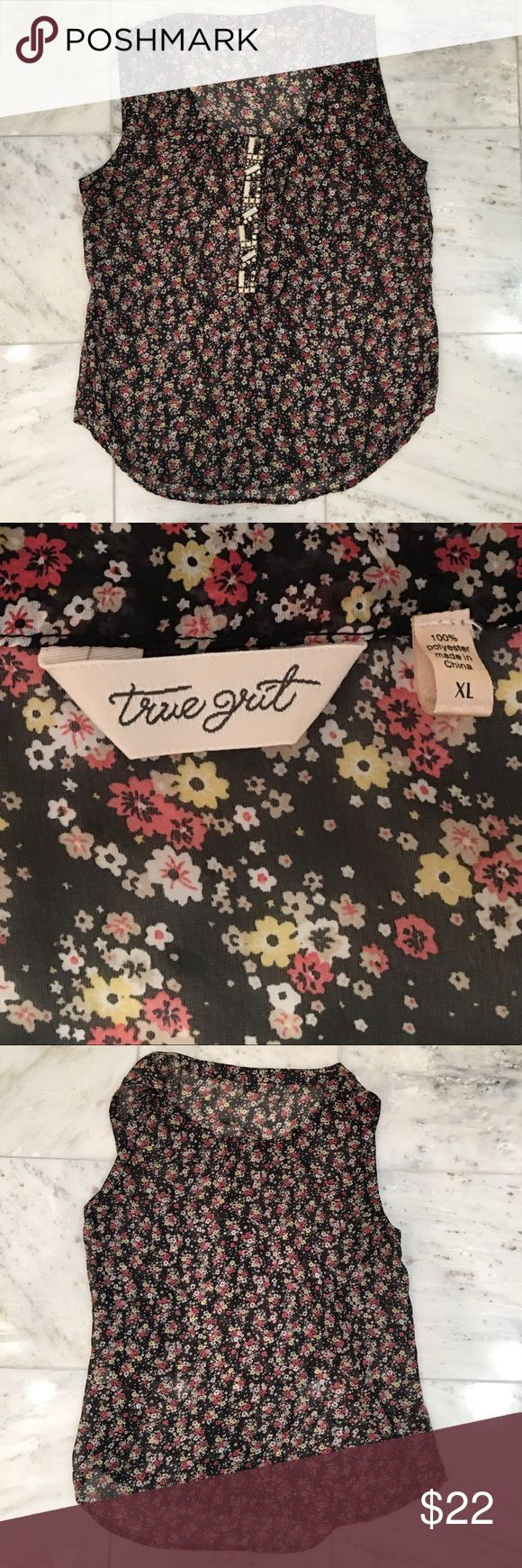 True Grit Sheer Floral Top w/ Rhinestones EUC Pretty sheer floral sleeveless top by True Grit. Has rhinestone/bead detailing in the front. Purchased at Von Maur and worn once. Looks cute dressed up with a blazer, or dressed down under a jean jacket or leather jacket. True Grit Tops