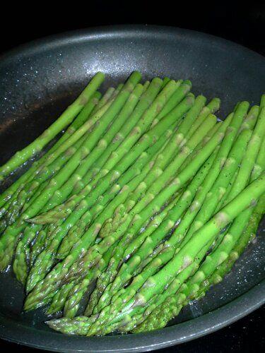 asparagus- olive oil salt pepper, fry for 10 min