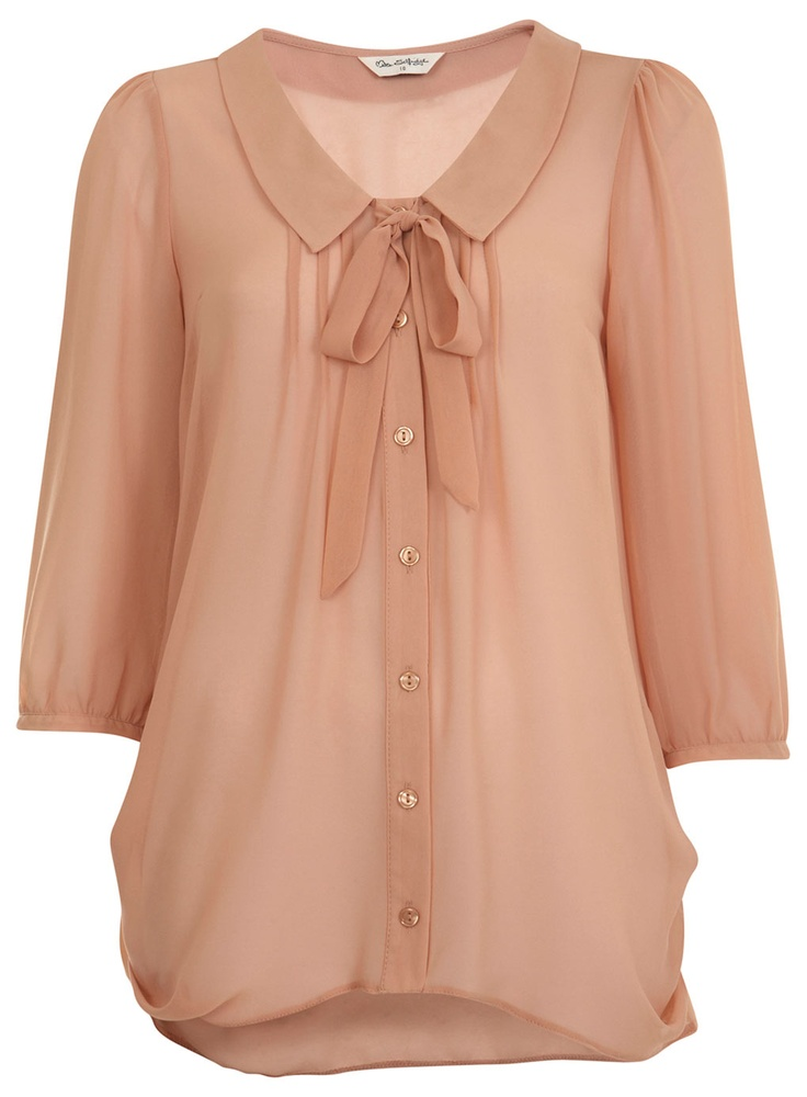 Nude Boat Neck Pussybow $61