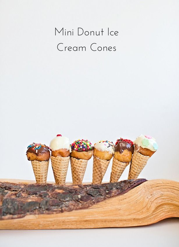 Mini Donut Ice Cream Cones. Combine two favorite treats into one! Cute for ice cream parties or a bite-sized kids's treat.