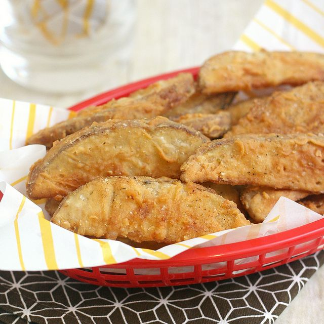 Copycat KFC Potato Wedges by Tracey's Culinary Adventures, via Flickr - Serve with Sour Cream Chive & Bacon Dip!
