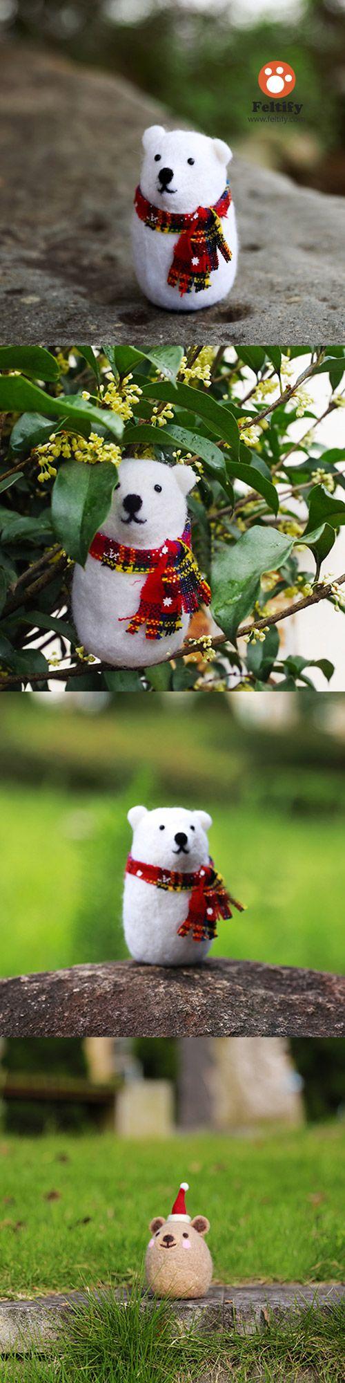 Handmade Needle felted felting project christmas ornament polar bear felted doll