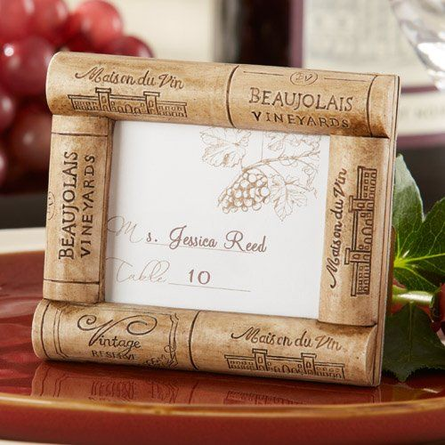 classy wine cork place cardphoto frame as potential goodie bag item or centerpiece