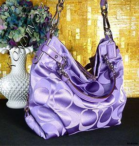 Coach Brooke Super RARE Sexy Purple Signature Sateen Hobo Tote Bag Purse   eBay