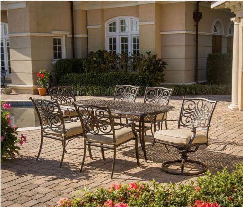7 Piece Outdoor Dining Set Aluminum Table Patio Furniture Chairs Garden Deck BBQ #HanoverOutdoor