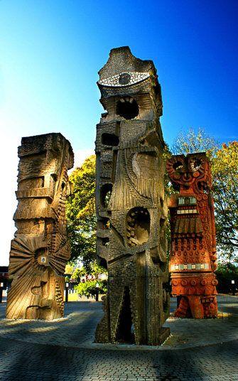 Unusual buildings granted listed heritage status - trio of totems, Salford