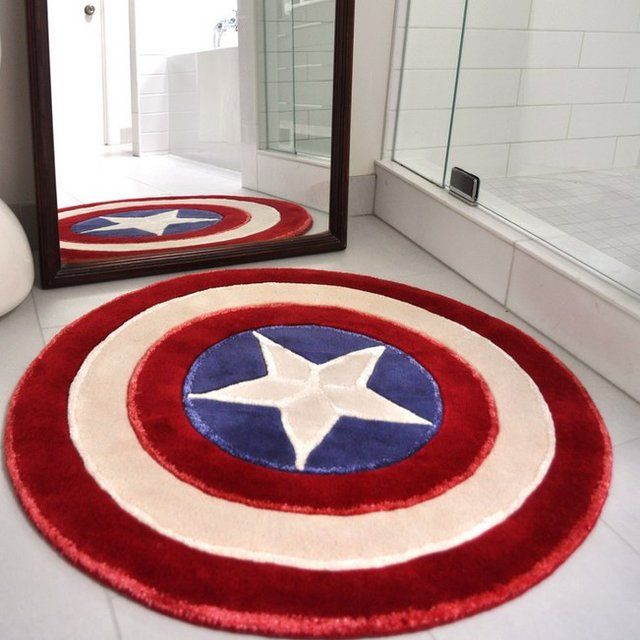 Captain America Rug / Rise up with the spirit of a superhero every morning as you stand on your very own Captain America Rug. http://thegadgetflow.com/portfolio/captain-america-rug/