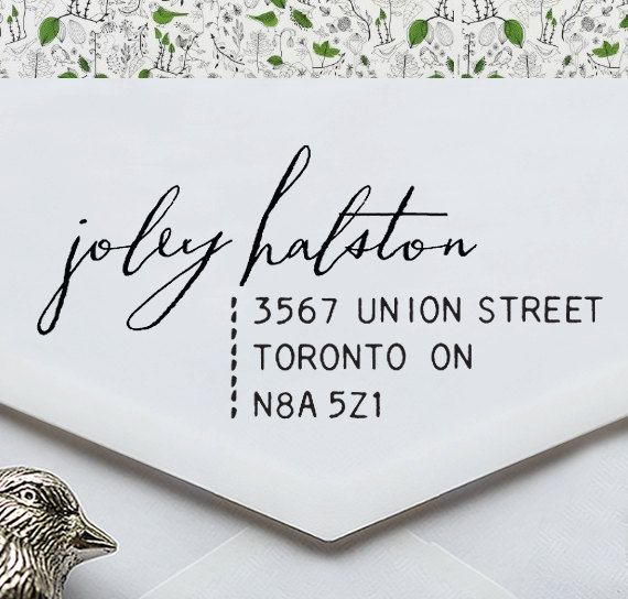 Calligraphy Address Stamp - Eco Stamp - wedding personal housewarming gift - 1023 op Etsy, 16,10 €