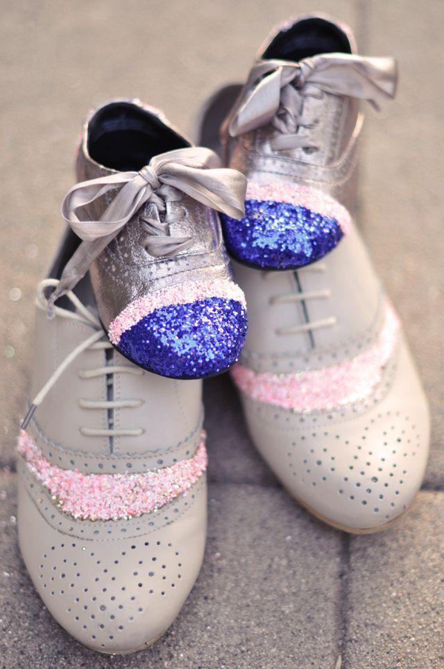 zapatos de purpurina, brillos zapatos puntera DIY