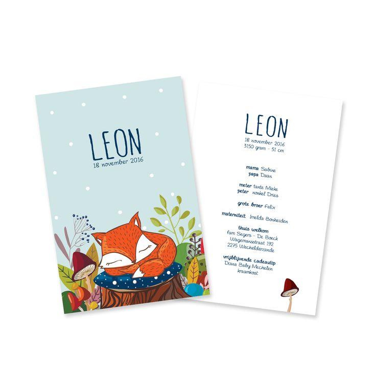 Geboortekaartje Leon, vos, herfst, winter