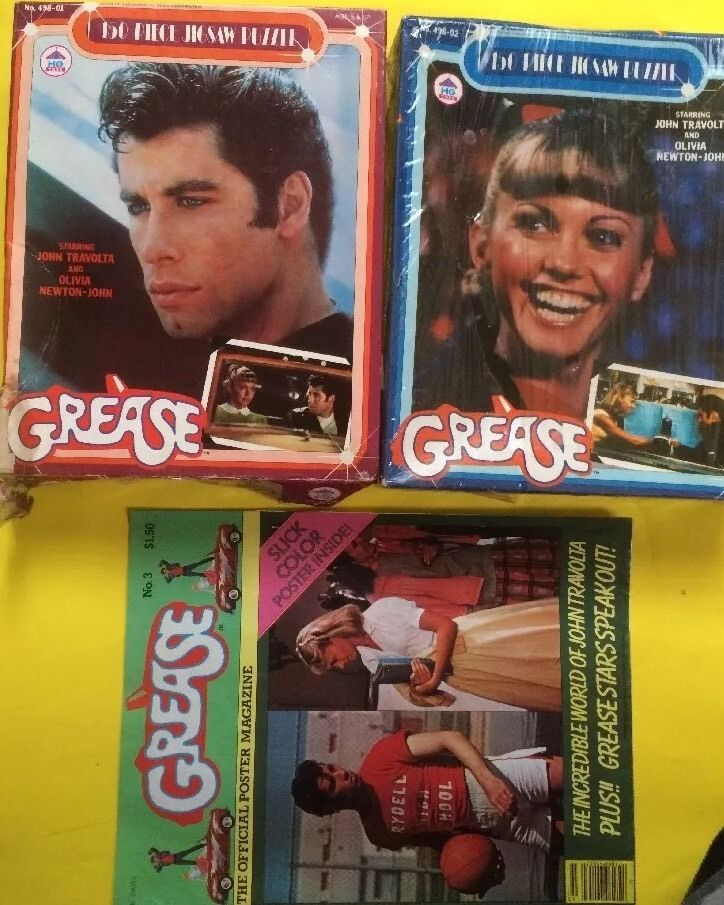 Grease vintage lot of 3 items 2 puzzles and official