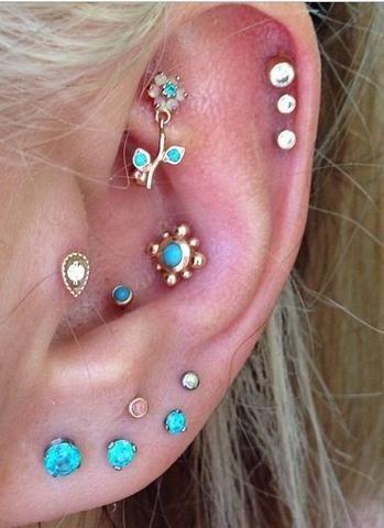 Beautiful Opal Ear Piercings at MyBodiArt