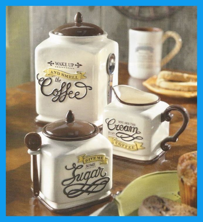 New Coffee Themed Canister Sugar Bowl Creamer Kitchen Decor Gift Set The Themes Sets