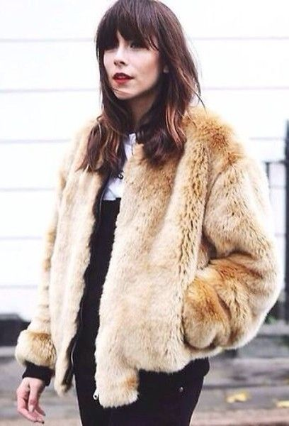fur bomber jacket... love this champagne colour!