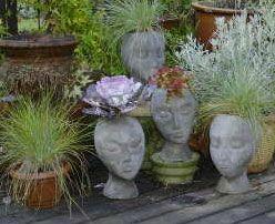 Unique Garden Decor   Concrete Head Planters Made From Styrofoam Wig Stands