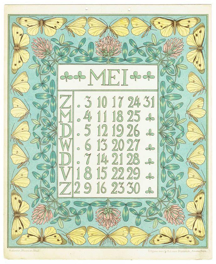 Netty van der Waarden kreeg aanvankelijk veel kritiek op haar moderne ontwerpen voor de Bloem en Blad kalenders van uitgeverij C.A.J. van Dishoeck. Vandaag de dag zijn haar art nouveau-kalenderblad…