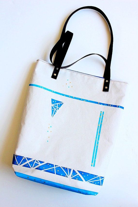 Hand painted canvas bag Original canvas tote by AdelineArtsGifts