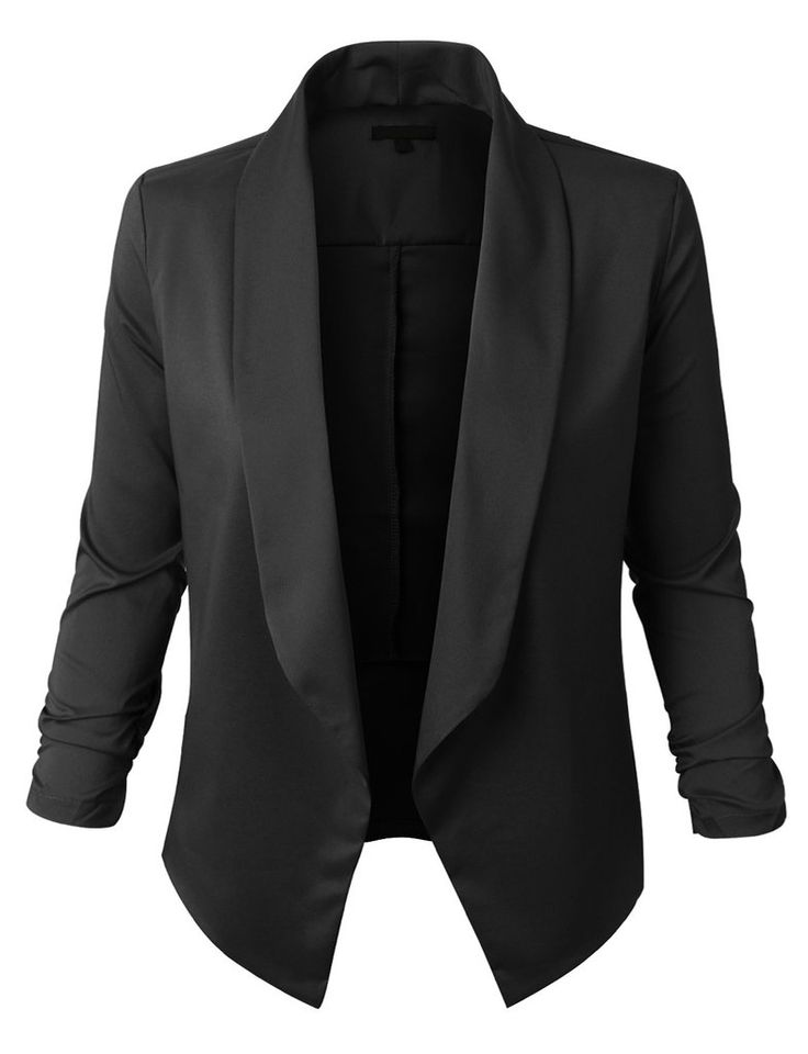 LE3NO Womens Lightweight Open Front Draped Tuxedo Blazer Jacket